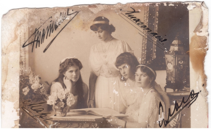 Photo card autographed by the grand duchesses