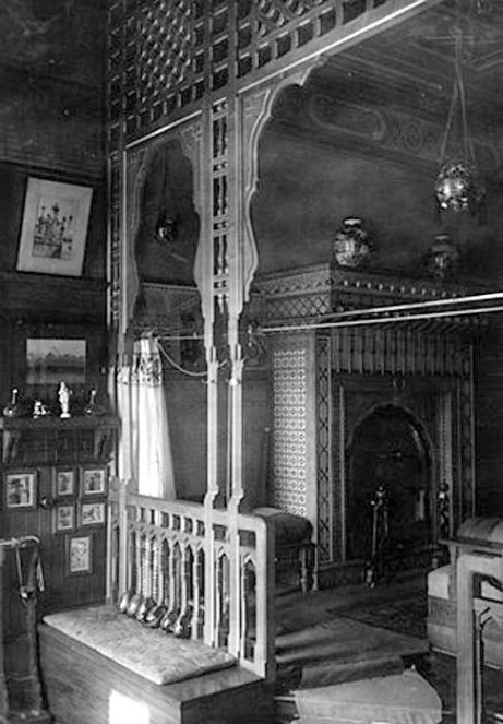A view of the tub-platform showing the fireplace, 1917