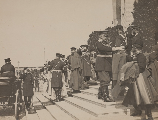 Emperor Alexander III with a personal Cossack guard, leaving the station at Brest. 1886