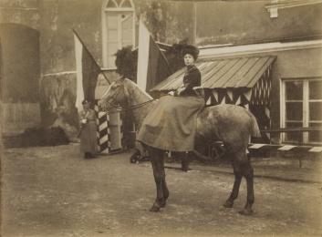 Grand Duchess Olga Alexandrovna, chief of the 12th Hussar Akhtyrsky Regiment. 1908