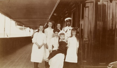 Emperor Nicholas II and his family on the deck of the Imperial yacht 'Standart'. 1910